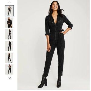 New Black Zipper Utility Boiler Suit. A&F Women S